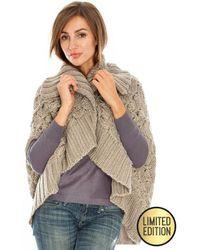 Goddiva Oversized Knitted Wrap Front Cape - Multicolor