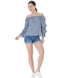 Goddiva Off The Shoulder Puff Sleeve Top - Blue