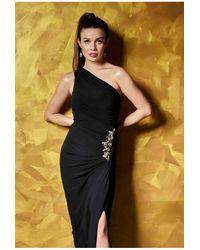 Revie London Amy One Shoulder Maxi Dress - Black