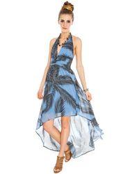 Goddiva Hawaii Halter Chiffon Dress* - Blue