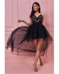 Goddiva Tulle Ballet Skirt With Lace Bodice High Low Dress - Multicolour