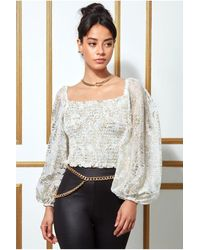Goddiva Shirred Foil Print Crop Top With Long Sleeves - Multicolour