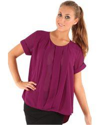 Goddiva Dip Hem Chiffon Blouse S - Purple