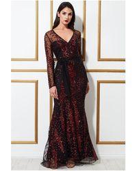 Goddiva Spread On Sequin Maxi With V Neck Dress - Red