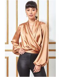 Goddiva Satin Wrap Style Sleeveless Crop Top - Multicolour