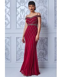 Goddiva Off The Shoulder Sequin Maxi Dress - Red