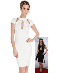 Goddiva Multi Cut Out Dress In The Style Of Mila Kunis - White