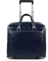 Piquadro , Blue Square 2-Rollen Businesstrolley Leder 36 Cm Laptopfach - Blau