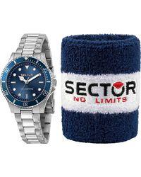 Sector , Quarzuhr 230 35mm 3h Blue Dial Bracelet Ss - Mettallic