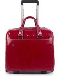 Piquadro , Blue Square 2-Rollen Businesstrolley Leder 36 Cm Laptopfach - Rot