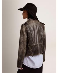 Golden Goose Golden Collection Leather Biker Jacket With Distressed Treatment - Multicolor