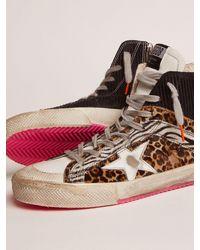Golden Goose Sneakers Francy LAB mit Schaft aus schwarzem Rauleder mit Cordprägung und Cavallino-Leder - Mehrfarbig