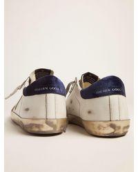 Golden Goose Sneakers Super-Star mit nachtblauem Knöchelrand aus Cordsamt