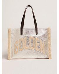 Golden Goose California Bag イースト・ウェスト ラミネートレザー(シルバー) メリノウールパネル - マルチカラー