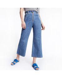 Sea Two-tone Denim Pants - Blue