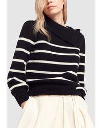 Co. Funnel-neck Striped Wool-cashmere Jumper W/ Button Shoulder - Black