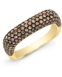 Anne Sisteron 14kt Yellow Gold Champagne Diamond Square Ring - Metallic