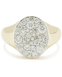 Eriness Diamond Pinky Yellow-gold Signet Ring - Metallic