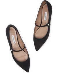 Tabitha Simmons Hermione Pointed Suede Flats - Black