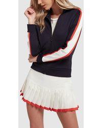 Tory Sport Pleated Contrast Hem Tennis Skirt - White