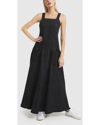 Matin Cross-back Linen Dress - Black