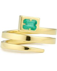 Jemma Wynne Coil Ring With Emerald - Multicolor
