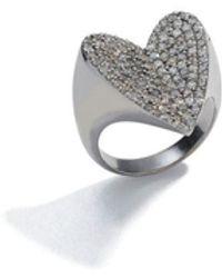 Sheryl Lowe Pavé Diamond Heart Ring - Size 6 - Black