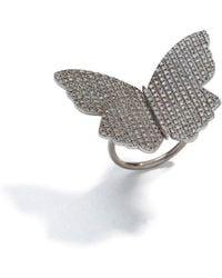 Sheryl Lowe Pavé Diamond Butterfly Bead Ring - Size 6 - Black