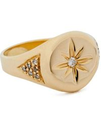 Jacquie Aiche - Gold Center-burst Signet Ring - Lyst