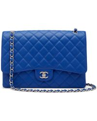 What Goes Around Comes Around - Chanel Blue Caviar Classic Maxi Bag - Lyst