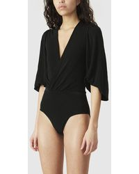 Ganni Balloon-sleeve Bodysuit - Black