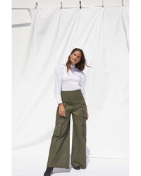 G. Label by goop Dimitri Cotton-twill Wide-leg Pants Dark Green