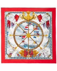 What Goes Around Comes Around - 1992 Hermès Red Vive Le Vie Printed Scarf - Lyst