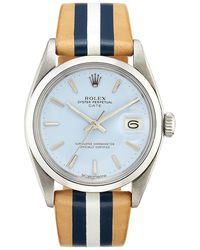 La Californienne 34mm Brenton Rolex Oyster Perpetual Date Watch - Blue