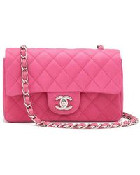 4104761266e5 What Goes Around Comes Around - Chanel Pink Caviar Half-flap Leather Bag -  Lyst