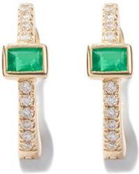 Jacquie Aiche Emerald Baguette-center Huggies Earring - Black