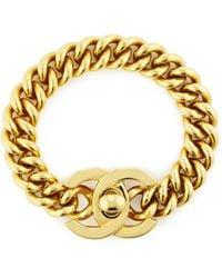 What Goes Around Comes Around Chanel Gold Turnlock Bracelet - Metallic