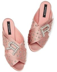 Rochas Raso Embellished Sandals - Pink