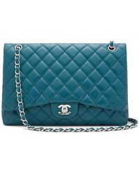 ab21fdc50860 What Goes Around Comes Around Chanel Blue Caviar Classic Maxi Bag in ...