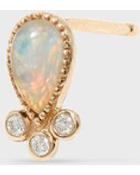 Fine - Diamond And Opal Teardrop Stud - Lyst