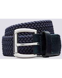 Grenson Woven Elastic Belt Unisex Elastic Belt In Navy - Blue