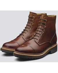 Grenson Joseph Boots In Tan Handpainted Leather With Commando Sole - Brown