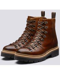Grenson Nanette Tan Hiker Boots On Commando Sole - Brown