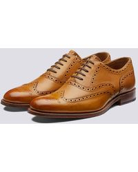 Grenson Dylan Oxford Brogue In Tan Calf Leather With A Leather Sole - Brown