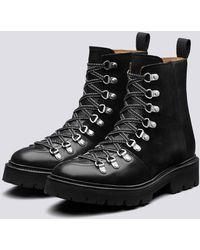 Grenson Nanette Hiker Boots In Black Colorado Leather On Commando Sole