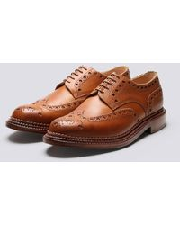 Grenson Archie Gibson Brogue In Tan Calf Grain Leather With A Triple Welt Leather Sole - Brown