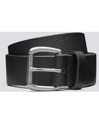 Grenson Jeans Belt Black Jeans Belt In Italian Black Pebble Grain Leather