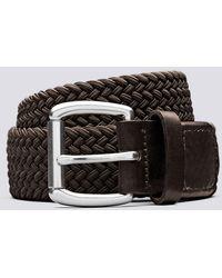 Grenson Woven Elastic Belt Unisex Elastic Belt In Dark Brown
