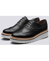 Grenson Emily Oxford Brogue In Black Calf Leather With A White Wedge Sole