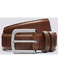 Grenson Casual Belt Walnut Hand Painted Italian Leather Belt In Walnut - Brown